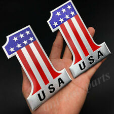 2pcs Usa American No.1 Flag Emblem Car Badge Motorcycle Gas Tank Decals Sticker