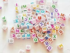 50 /100pcs 6mm white + colourful letters cube alphabet acrylic beads A-Z
