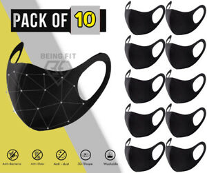 Pack 10 Face Mask Black Reusable Washable Breathable Dust Mouth Cover CHEAP UK