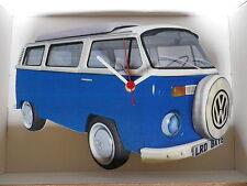 Blue & white BAY DESIGN CLASSICO VW Camper Van Wall clock.new & BOXED