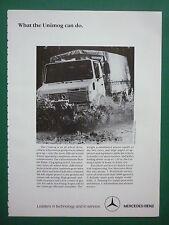 1980'S PUB MERCEDES-BENZ TOUT TERRAIN 4X4 UNIMOG MILITARY VEHICLE ORIGINAL AD