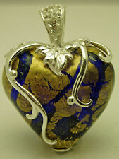 'Murano Glass' style & Sterling Silver Heart & Crystal Pendant