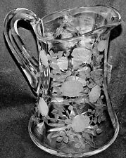 ROSES Tiffin Franciscan Flower Pattern on Optic Clear #14180 - 52 oz Pitcher