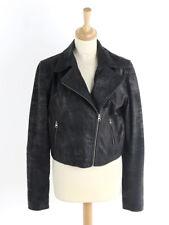Sara Berman Womens Black Cropped Leather Biker Jacket Size L (Uk 14)