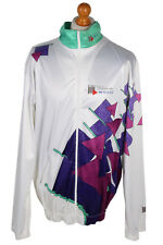 VINTAGE Jantzen CICLISMO Shell Tuta Da Ginnastica Top Gem 90 S streetwear xl bianco-SW1862