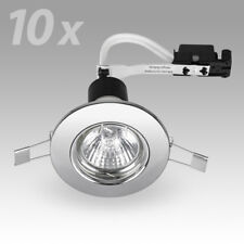 10 x Modern Chrome GU10 Recessed Ceiling Spot Light Downlights Downlight Lights