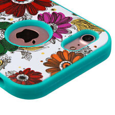 for iPhone 7- Colorful Chrysanthemums Teal Rubber Hybrid Protector Case Cover
