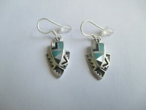 Arrow Earrings inlayed Turquoise/Black Onyx/Mother of Pearl.STERLING SILVER NEW