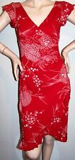 WINDSOR RED DRESS Sz S White Floral Faux-Wrap V-Neck Cap-Sleeve BODY-HUGGING FIT