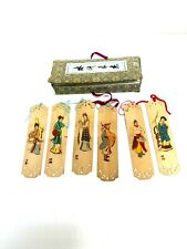 Vintage Chinese Bookmarks Bamboo?  Wood?  - Set of 6 in box