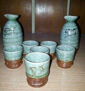 Rare Sumayaki Crackle Glaze 2 Piece Sake Bottle & 6 Piece Tea Cup Set