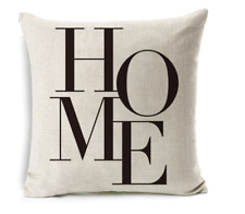 Cushion Cover Pillow Case HOME Print for Sofa Seat Bed Home Decor Quality Linen