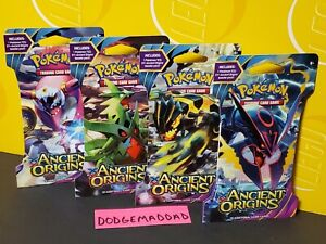4 AUTHENTIC POKEMON XY ANCIENT ORIGINS SLEEVED BOOSTER PACKS- 4 SLEEVE DESIGNS