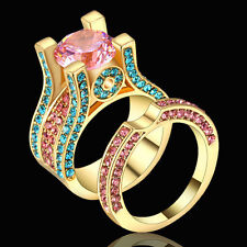 Size 7 Pink Sapphire Pave Set Engagement Band Ring Set Gold Rhodium Filled Gift