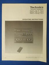 TECHNICS SD-S110 SD-S210  OWNER MANUAL ORIGINAL FACTORY ISSUE THE REAL THING