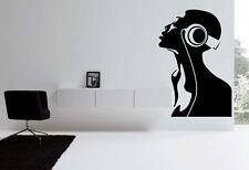 dj music headphones ear vinyl Quote Wall Stickers Art room Removable Decals DIY