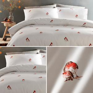 White Christmas Festive Winter Robin Red Bird 100% Cotton Duvet Quilt Cover Set
