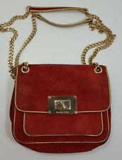 MICHAEL Michael Kors Small Suede Handbag Purse Shoulder Flap Red Gold Chain