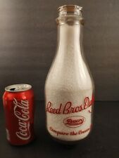 Vint Red Pyro Reed Bros Dairy Dacro Memphis TN War Home Front Quart Milk Bottle
