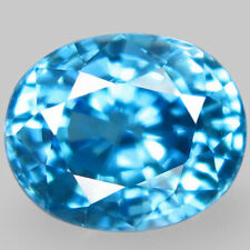 7.25Ct. Natural Rich Seafoam Blue Zircon Cambodia Oval Facet Heated Blazing BIG!