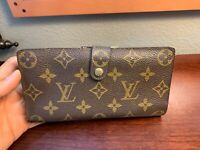 LOUIS VUITTON Brown Monogram Leather Checkbook Purse Wallet Vintage Beautiful