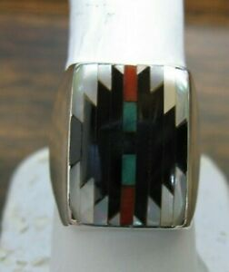 Vintage Large Andrew Dewa AD. Zuni Sterling Inlay Mens Ring Size 10 3/4 Gents