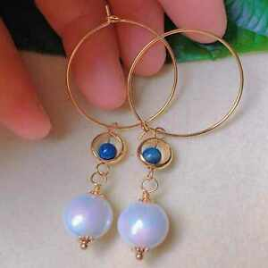 Natural white round shell pearl Lapis Lazuli beads gold earrings gift Ear stud