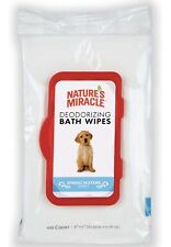 Nature's Miracle Deodorizing Spring Waters Dog Bath Wipes, 100 count.