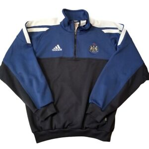 "Adidas Men's Medium ""New Castle United"" 1/4 zip Pullover Blue & Black Shirt"