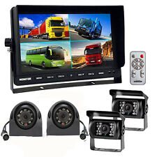 "10.1"" Quad DVR Monitor 4 Video+4x Reversing CCD Camera+4x 10M 4Pin Cable F Truck"