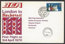BEA Trident First Flight cover 1970 London to Bucharest, Romania