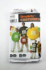 Simplicity Costumes 8290 M&M'S Chocolate Candy Halloween Pattern Size A S M L