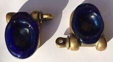 Vintage Maritime Brass  Salt Cellars Chain Shanks Blue Glass Pair