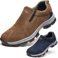 Mens Casual Safety Shoes Cap Toe Slip On Breathable Work Outdoor Hiking Climbing
