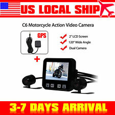 2'' C6 Motorcycle Action Video Dual Dash Camera Recorder 120°+ GPS Tracker Set