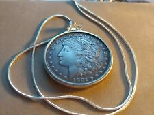 "1921 American Morgan .900 Silver Dollar .925 Pendant on an 18"" .925 Silver Chain"