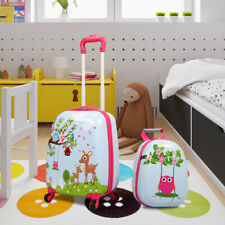 2 Pcs Kids Carry-on Luggage Set Suitcase Backpack School Trolley for Toddler