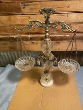 Antique Vintage Scales Of Justice Glass Prisms Crystal Bowls Ornate Germany