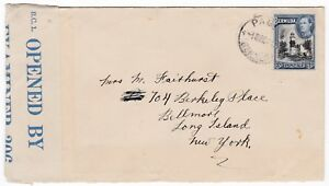 # 1942? PAGET BERMUDA TO NY USA BC1 OPENED BY EXAMINER 306 BLUE CENSOR LABEL WW2