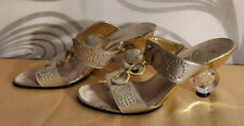 Vintage Onex Size 38/7.5 Gold Mules with Circular Clear Lucite Sculptured Heels