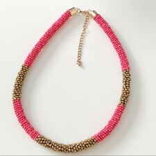 BOHO Luxe Braided Rope Beaded Necklace Pink Gold Kumihimo Seed Bead EUC