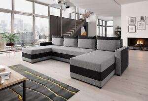 Couchgarnitur Sofa Sofagarnitur VELVET U mit Schlaffunktion Wohnlandschaft NEU