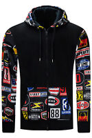 New Men Sweater Nascar Cars Printed BIG & TALL Hoodie Black Superiority 4X-6XL