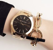 Original Michael Kors Uhr Damenuhr MK3478  Slim Runway Farbe:Gold/Schwarz NEU