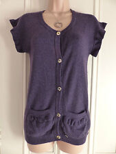 Gorgeous dark purple Luella UK12 cashmere cardigan gold buttons frilled sleeves