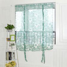 Chic Jacquard Flower Design Short Roman Window Curtain Tie-up Window Sheer Voile