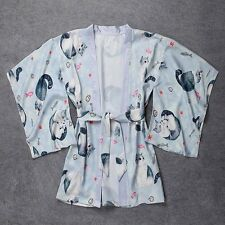 1pc Japan Women Cat Printed Haori Kimono Yukata Coat Loose Outwear Top One Size