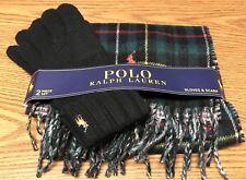 Ralph Lauren Polo Wool Blend Plaid Scarf Black Gloves Unisex Christmas Set NWT