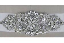 Bridal Wedding Party Dress Rhinestone Crystal Pearl Encrusted Sash White Belt