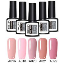 5 Bottles Pink Nude Gel Nail Polish Kit Long Lasting UV Gel Varnish Shiny 8ml